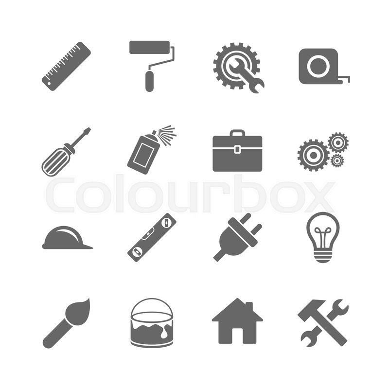 Set Of Construction Tools Engineering And Repair Icons Electric