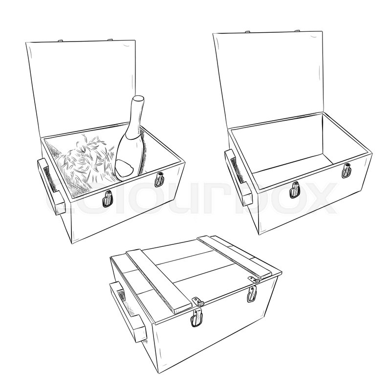 Vector Sketch Of Wooden Boxes Set Of