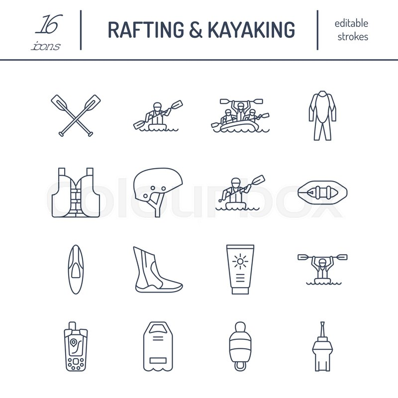 Rafting, kayaking flat line icons. Vector illustration of water sport equipment - river raft, kayak, canoe, paddles, life vest. Linear signs set, summer recreation pictograms for paddling gear store, vector