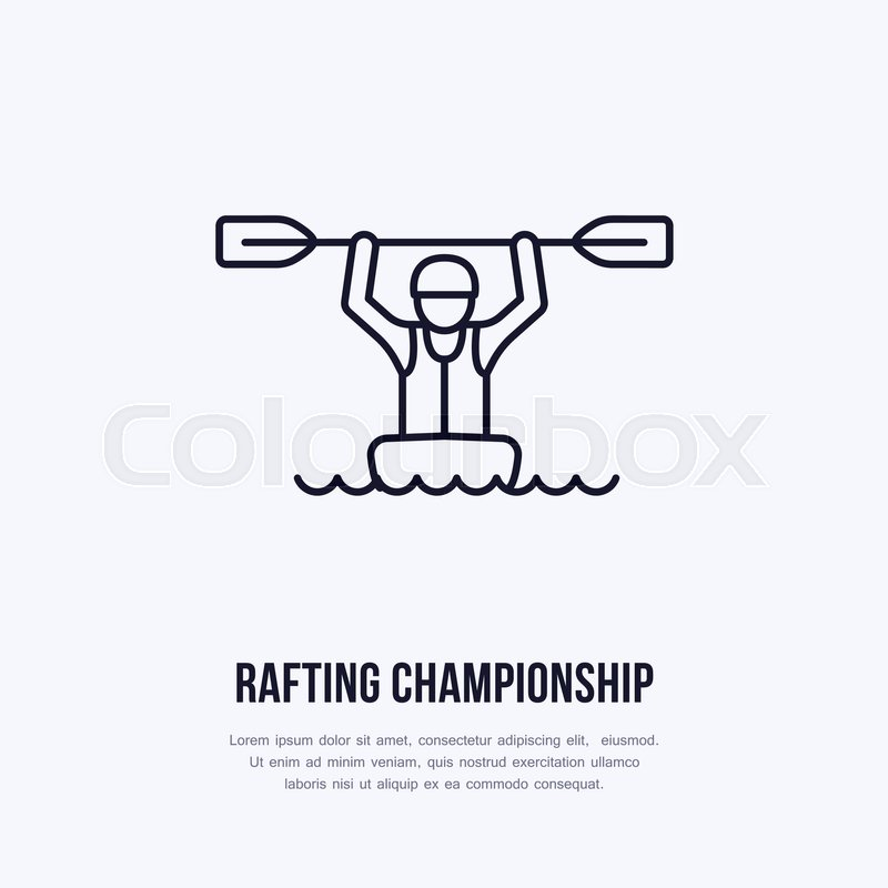 Rafting, kayaking flat line icon. Vector illustration of water sport - happy rafter with paddle in river boat. Linear sign, summer recreation pictograms for paddling gear store, vector