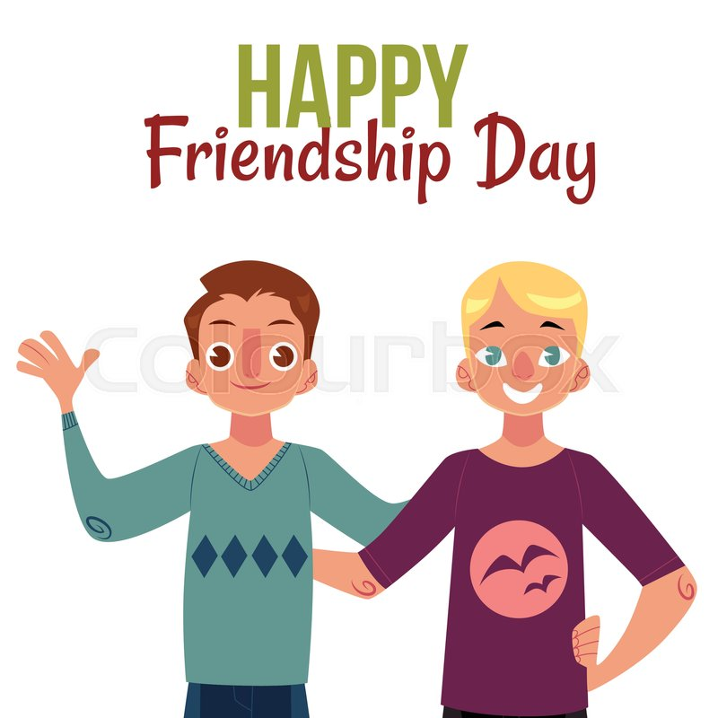 Happy friendship day greeting card design with two men friends happy friendship day greeting card design with two men friends hugging each other cartoon vector illustration on white background m4hsunfo