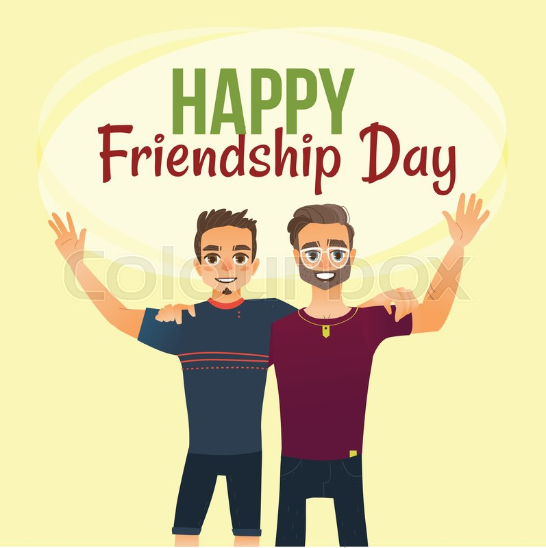 Happy Friendship Day Greeting Card Design With Two Men, Friends Hugging  Each Other, Cartoon Vector Illustration On White Background.