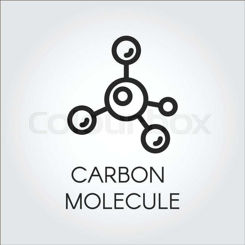 Abstract Linear Icon Of Carbon Molecule Chemical Structure