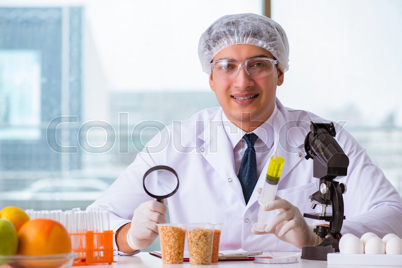Nutrition expert testing food products in lab, stock photo