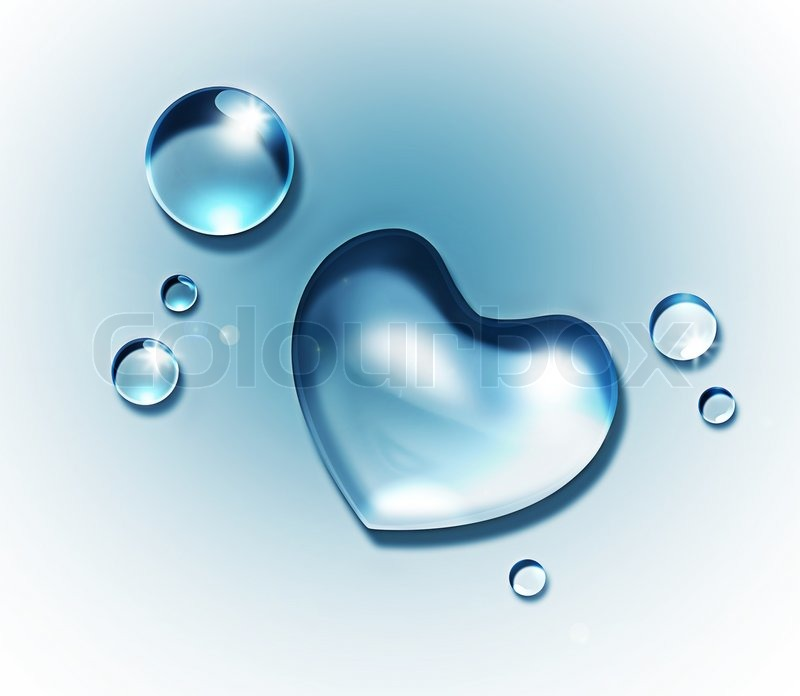 Water Drop Forming A Heart Shape On Light Background
