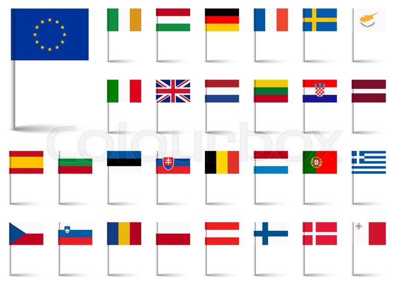 Flags Collection Of All European Union Countries Stock Vector