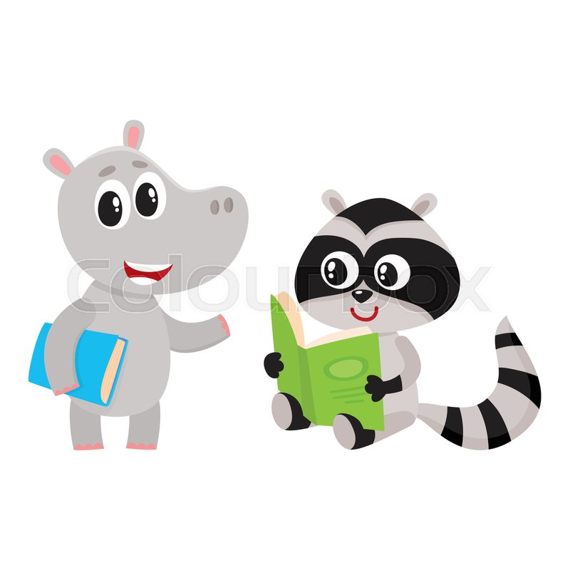 Cute animal student characters hippo standing with book raccoon