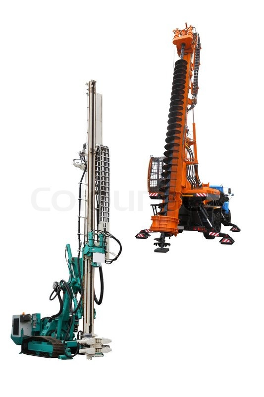 Self Propelled Cart >> The image of a drilling machine and a pile driver under the white background | Stock Photo ...