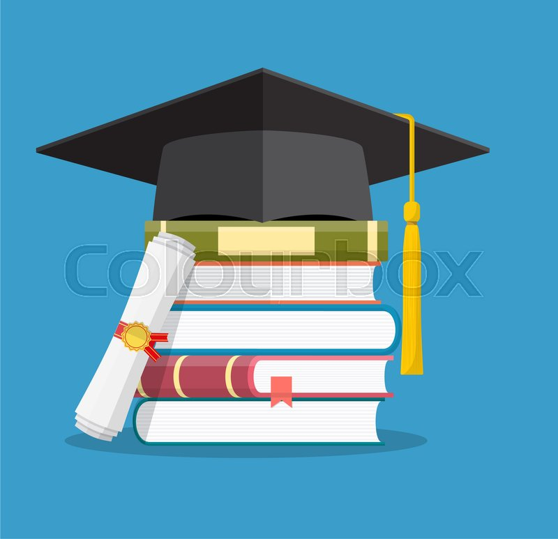 Graduation Cap On Books Stacked Mortar Board With Pile Of Books And
