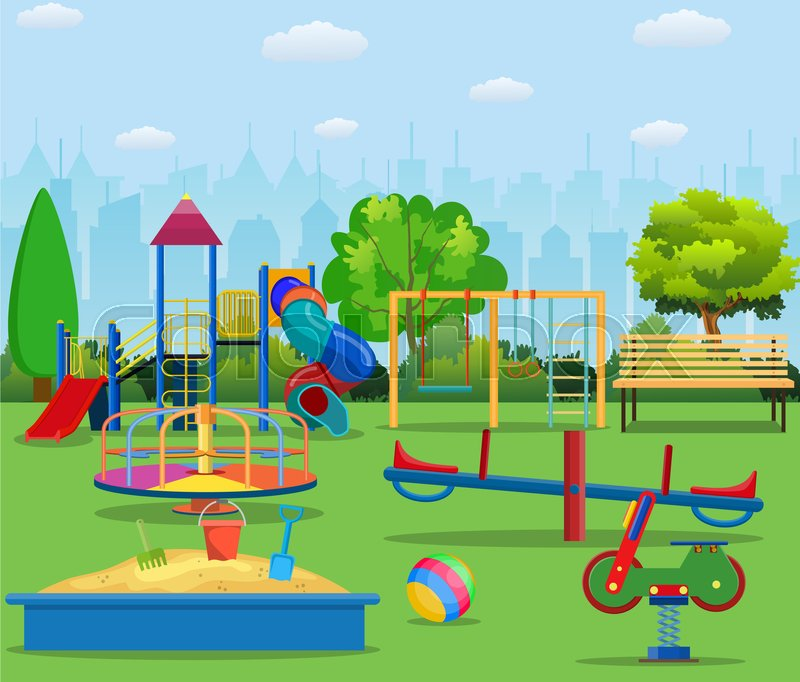 Happy Kids In A Playground Clip Art