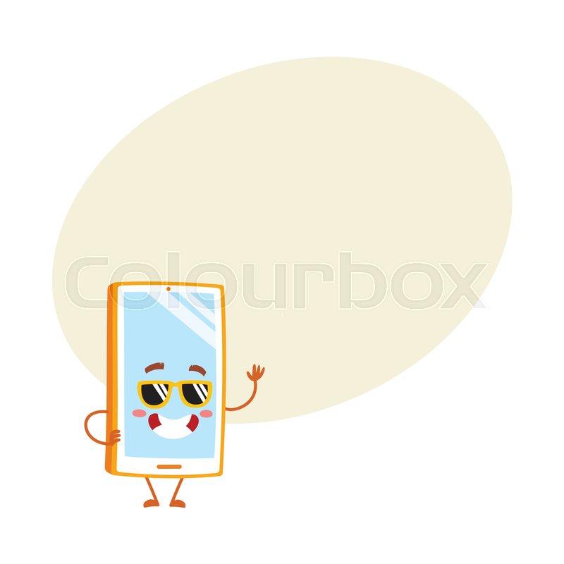 Funky Cartoon Mobile Phone Smartphone Character In Sunglasses