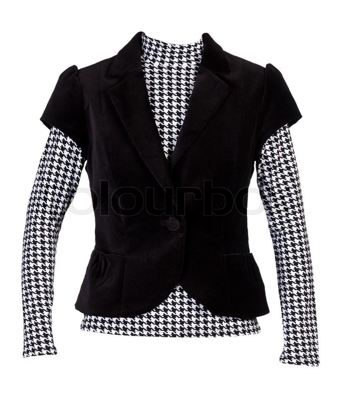 Blouse with a pattern of &quotcrows feet&quot and a dark jacket with short