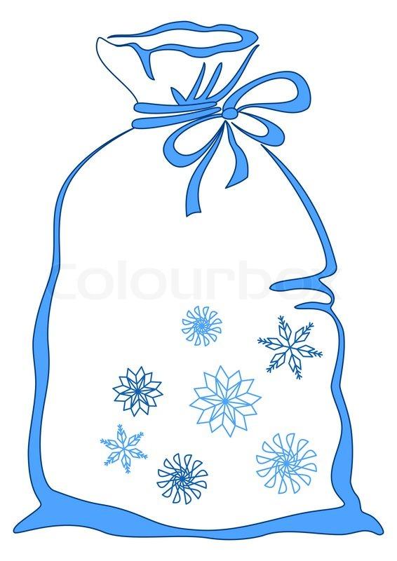 bag mit weihnachtsgeschenke mit schneeflocken verziert. Black Bedroom Furniture Sets. Home Design Ideas