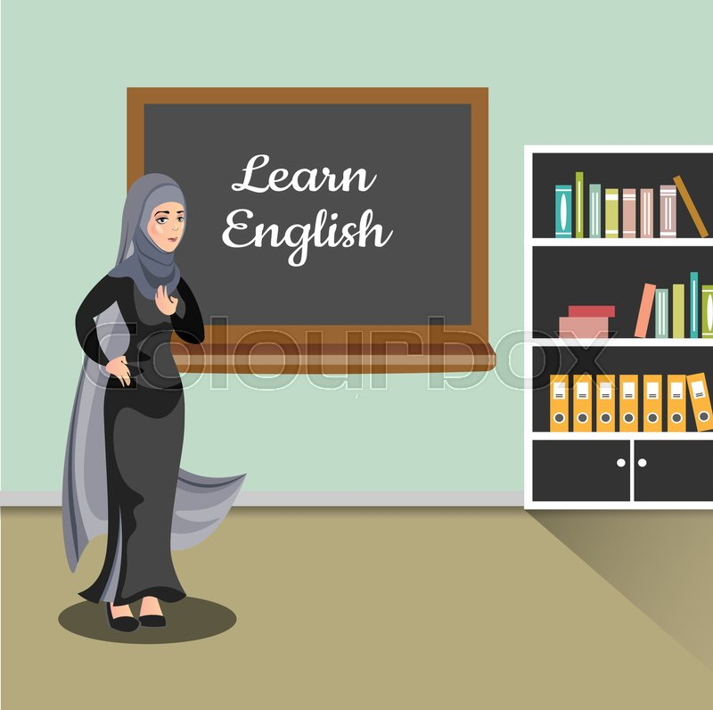 Muslim teacher in classroom. Vector illustration of flat design people characters, vector