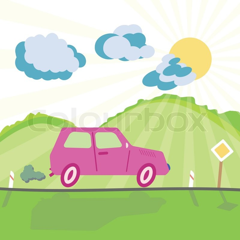 Car On The Mountain Road And Shiny Sunny Background In Childish Cartoon Style