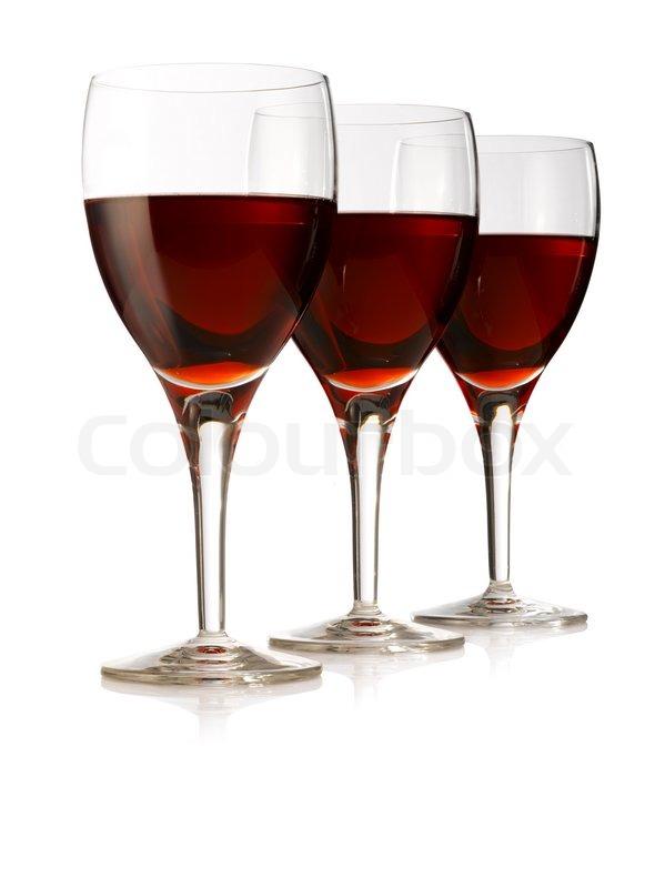 Best Red wine devided in three elegant wine glasses | Stock Photo  RO73