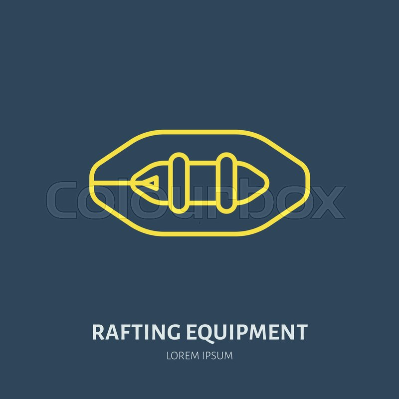 Rafting, kayaking flat line icon. Vector illustration of water sport - raft, river boat. Linear sign, summer recreation pictogram for paddling gear store, vector