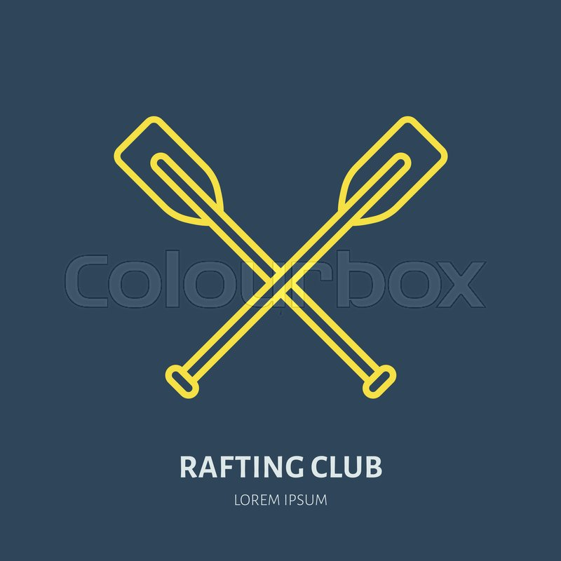 Rafting, kayaking flat line icon. Vector illustration of water sport - raft paddles. Linear sign, summer recreation pictogram for river paddling gear store, vector