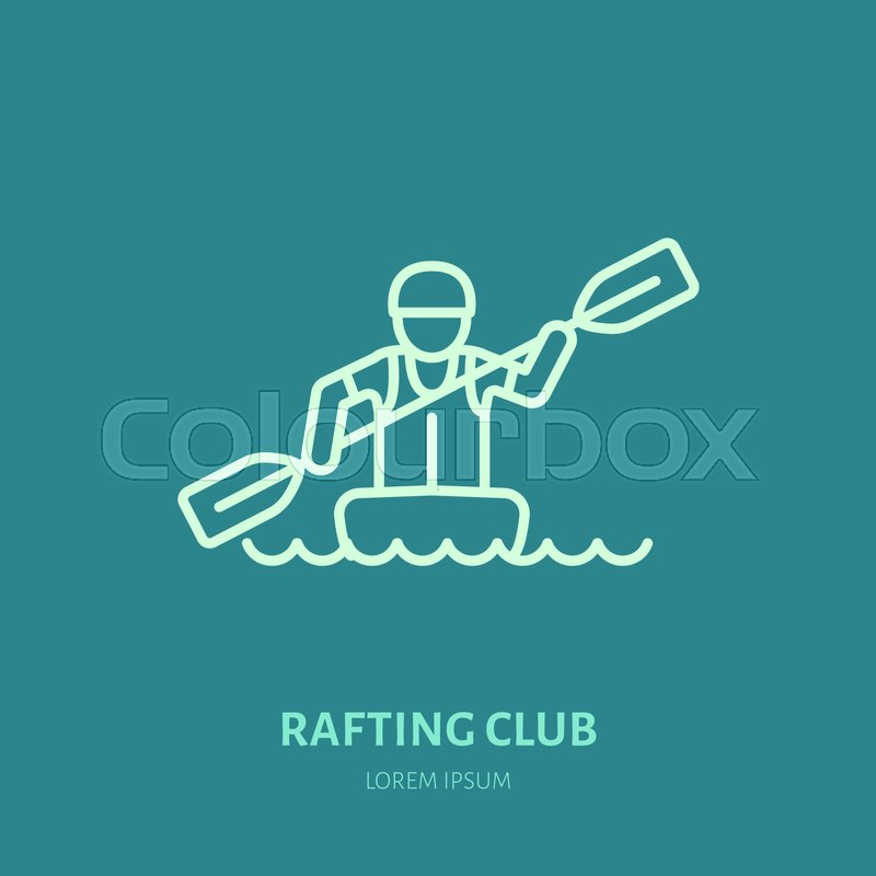 Rafting, kayaking flat line icon. Vector illustration of water sport - rafter with paddle in river boat. Linear sign, summer recreation pictograms for paddling gear store, vector