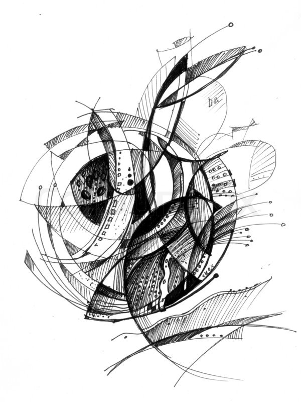 Abstract drawing black ink with unusual spiral structure ... - photo#35