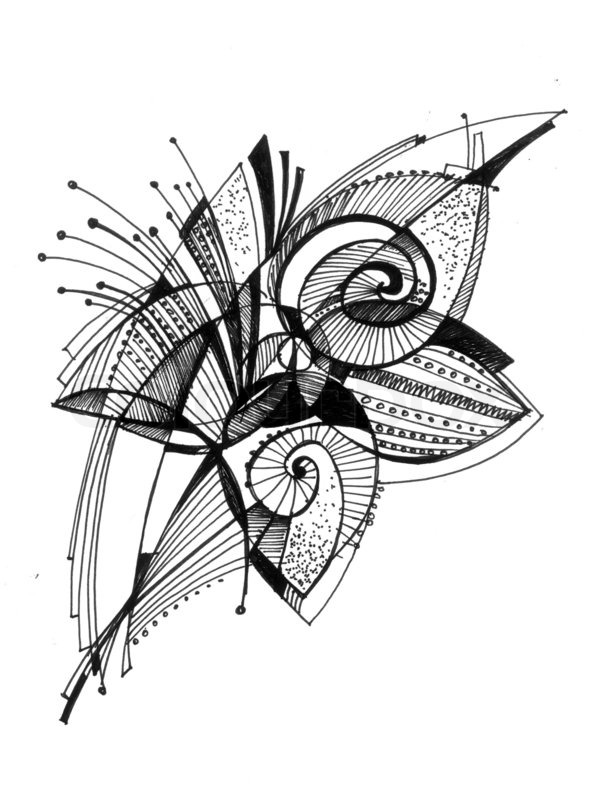 Abstract Flower Line Drawing : Abstract drawing black ink with unusual stock photo