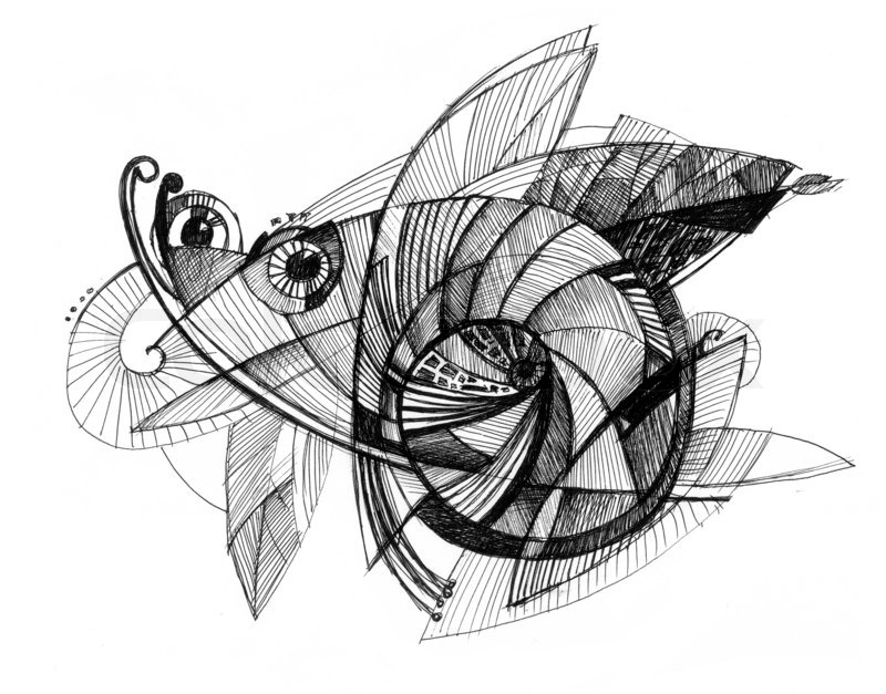 Line Art Ink : Abstract drawing black ink with unusual spiral structure