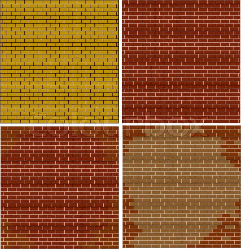 Abstract brick walls set textured red color isolated, vector