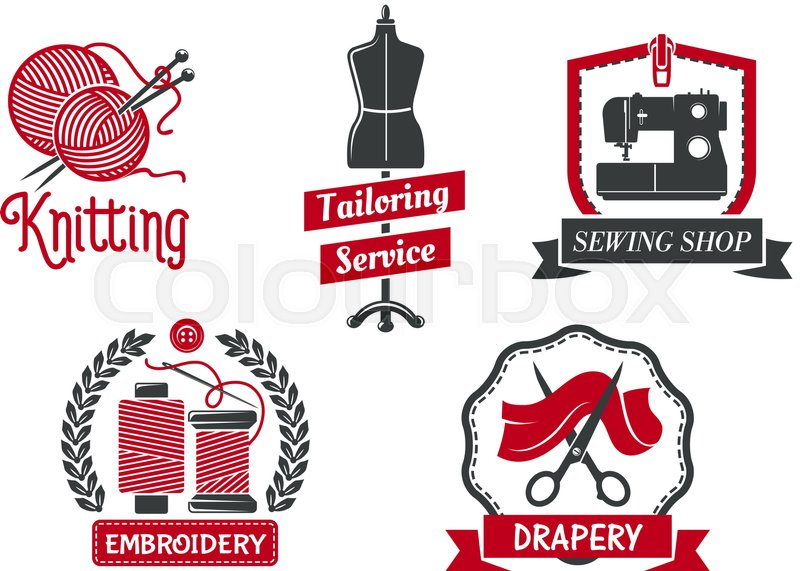 Tailoring Service Icons Set For Atelier Tailor Or Dressmaker
