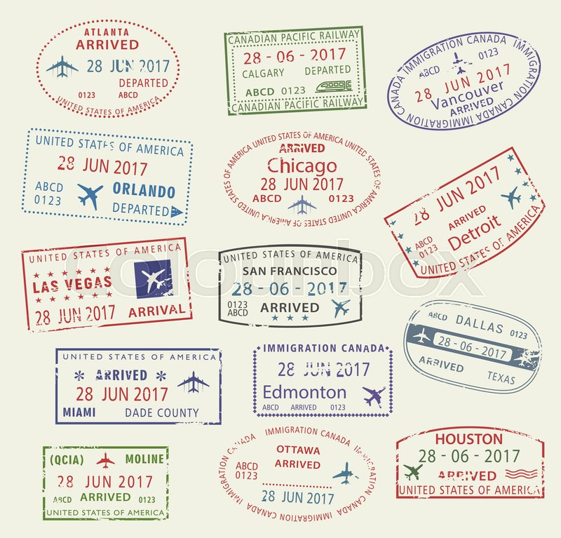 Passport Travel Stamps Icons With City