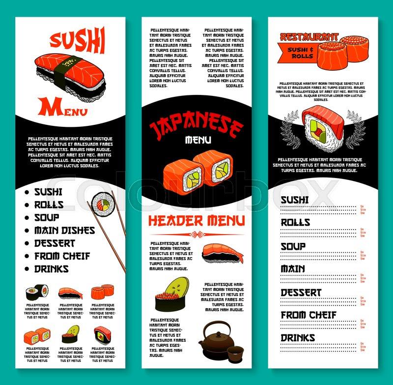 Sushi restaurant menu vector template of sushi rolls for Akina japanese cuisine menu