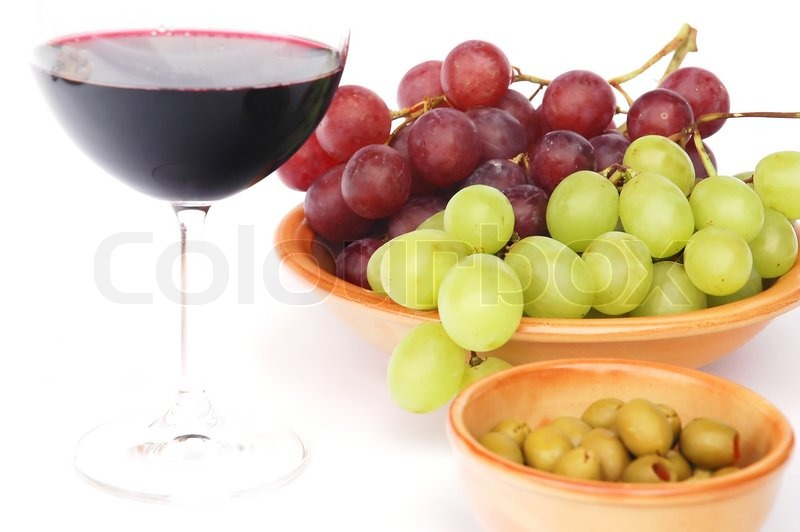 Red Wine Olives And Grapes Stock Photo Colourbox