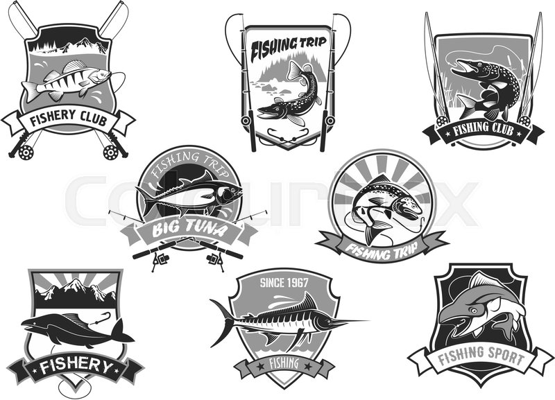 Fishing Club Or Fishery Trip Icons Set Vector Isolated Symbols Of