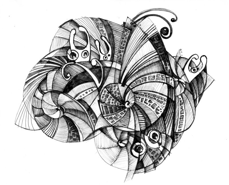 Abstract drawing black ink with unusual spiral structure | Stock ...