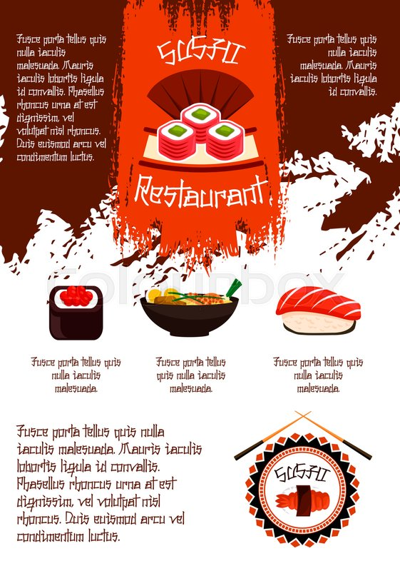 Japanese sushi restaurant poster for menu template vector design japanese sushi restaurant poster for menu template vector design of sushi rolls sashimi or prawn shrimps and squid tempura steamed rice and seafood or pronofoot35fo Choice Image