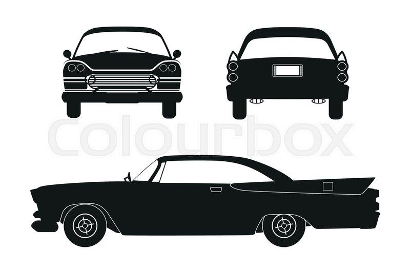 Silhouette Of Retro Car Vintage Stock Vector Colourbox