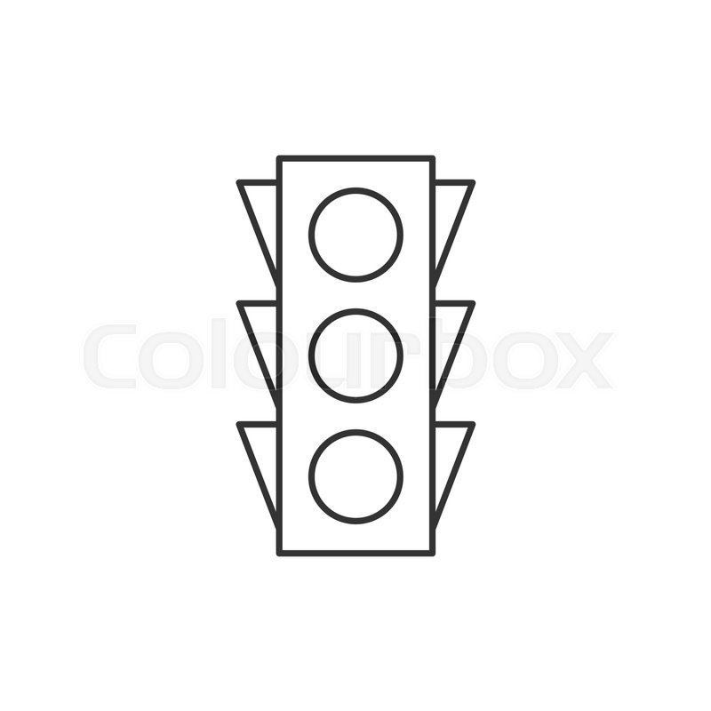 traffic light outline icon on white background