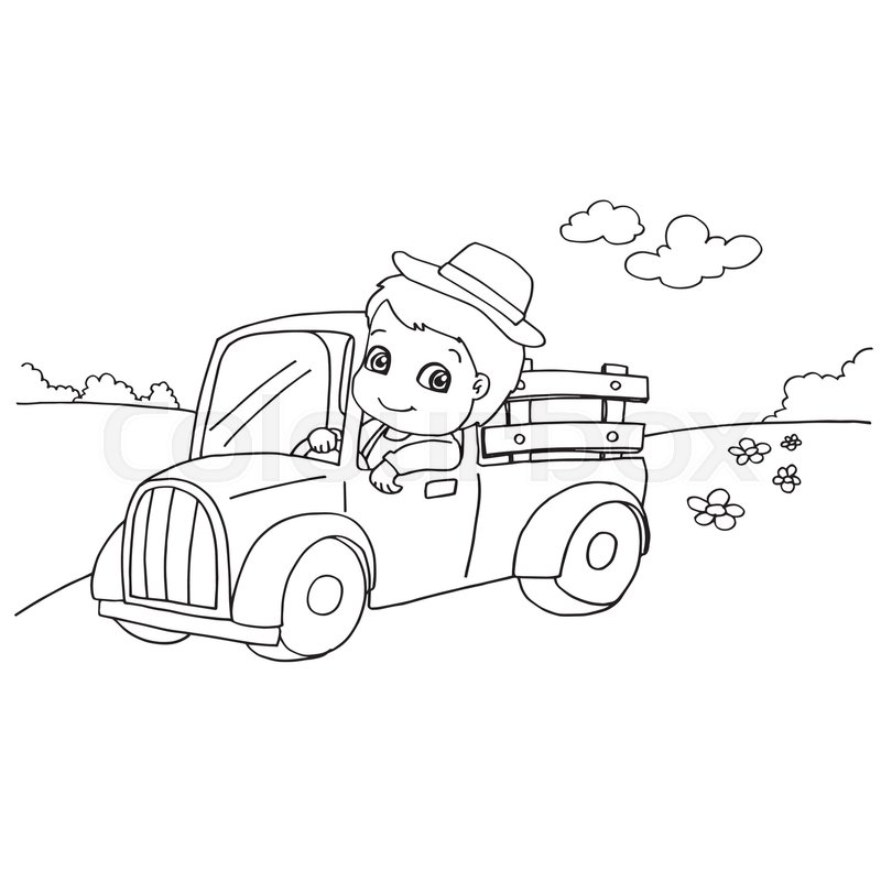 Image of little boy driving a toy car coloring page vector for Toy car coloring pages
