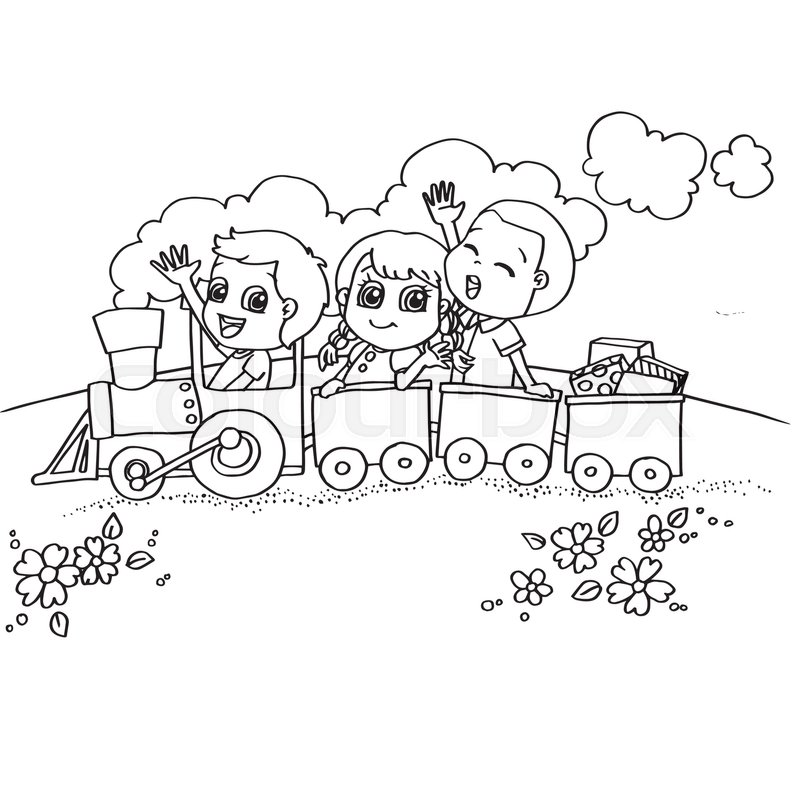 Image of little boy and friend driving a toy train coloring page vector stock vector colourbox