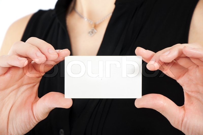 Woman hand holding white empty blank business card shallow dof woman hand holding white empty blank business card shallow dof stock photo colourbox colourmoves