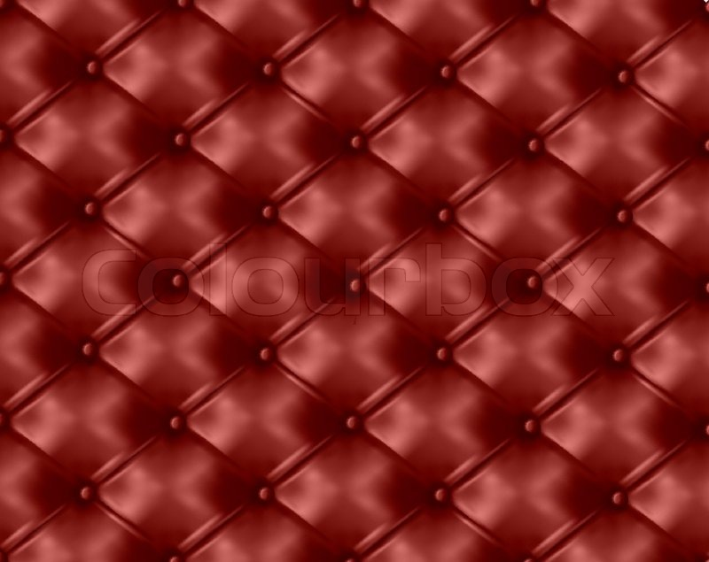 Red Button Tufted Leather Background Vector Illustration