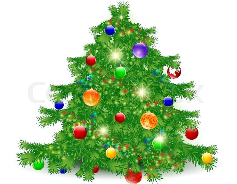 Illustration Of Decorated Christmas Tree Over White