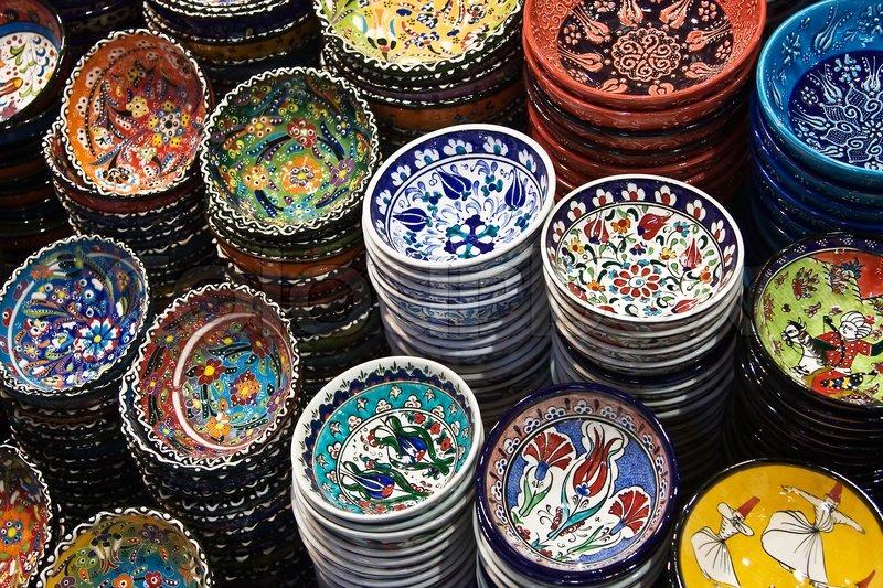 Classical turkish ceramics on the bazaar istanbul stock photo - Classical Turkish Ceramics On The Market Stock Photo