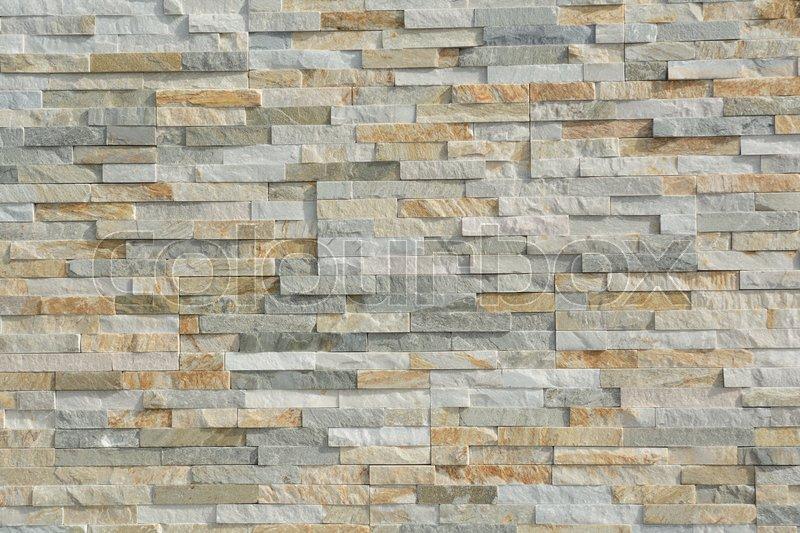 Duenne Natursteine Bilden Ein Muster In Einer Steinmauer Stockfoto
