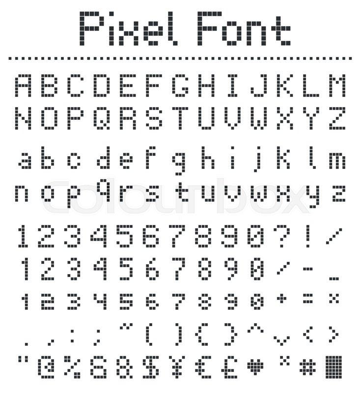 Pixel retro font, videogame type,     | Stock vector | Colourbox