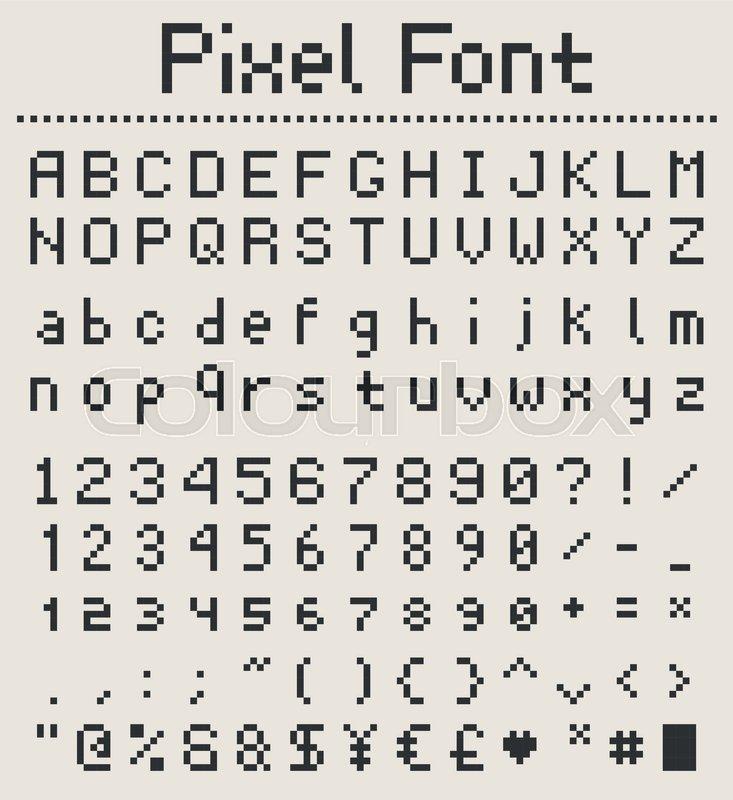 pixel retro font  videogame type  8