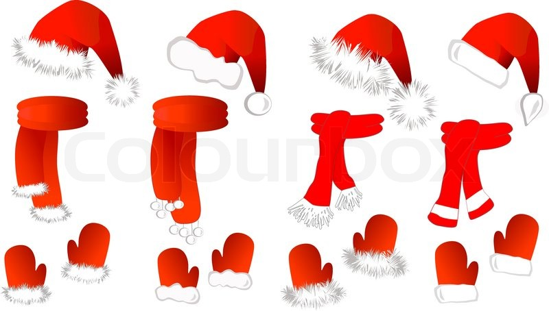 cristmas set red santa claus hat  scarf and mittens on Photography Studio Clip Art Clip Art Photography Session