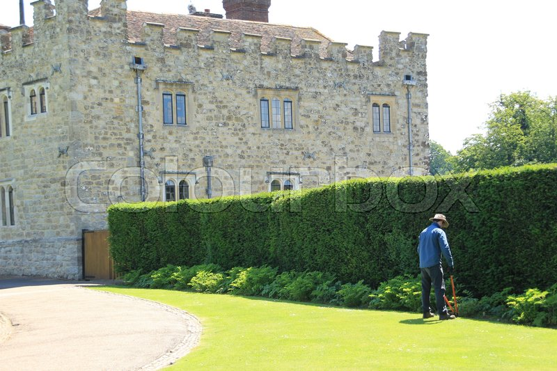 The gardener is cutting the grass in the neighourhood of Leeds Castle in England in the summer, stock photo