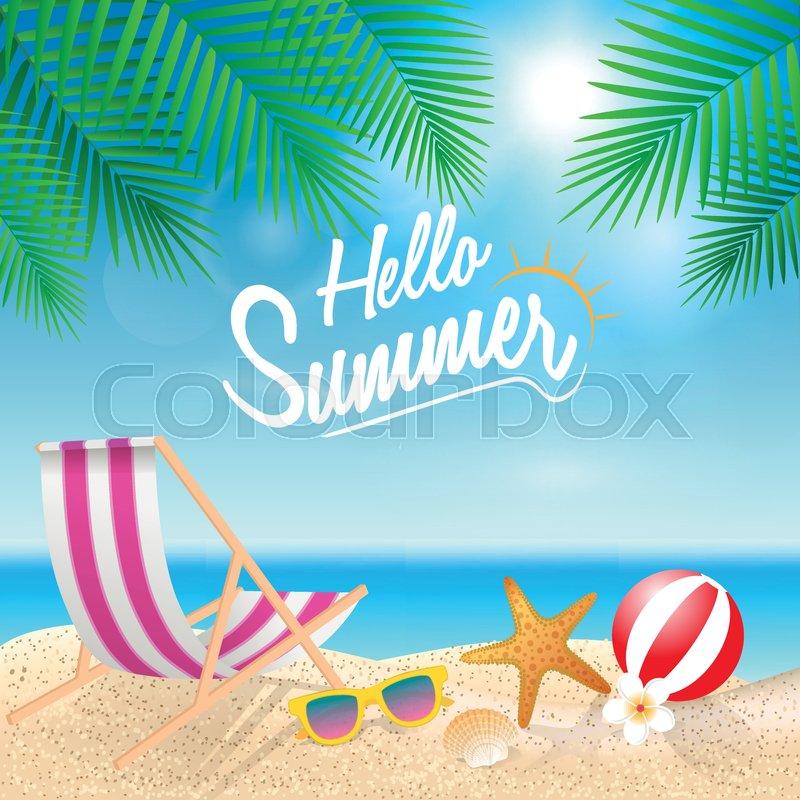 9827c43737688 Hello summer holiday background. Beach ...