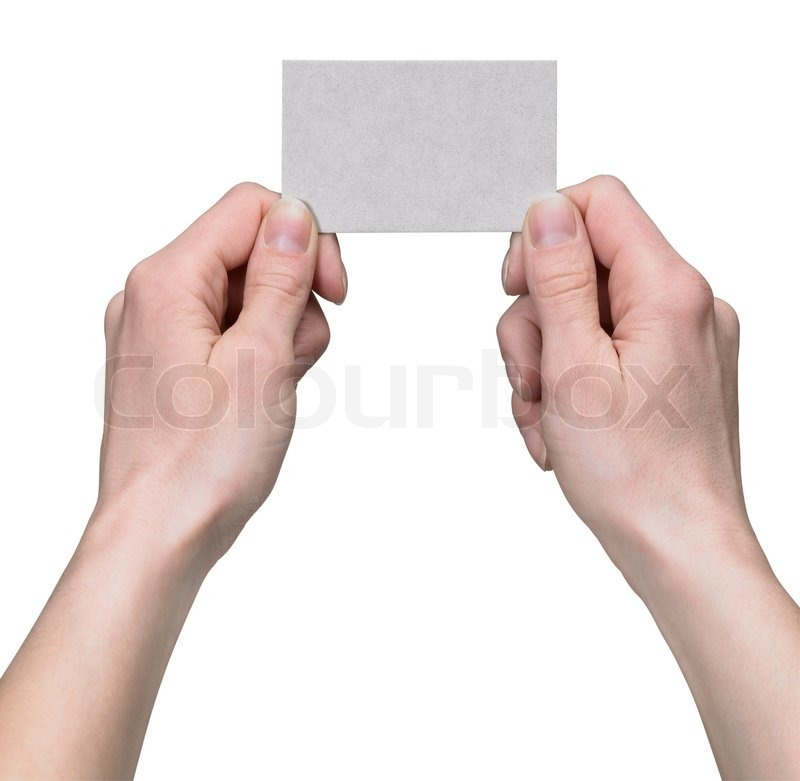 Hands holding a business card | Stock Photo | Colourbox