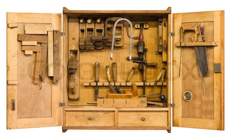 Old Historic Tool Cabinet Filled Woth Stock Photo